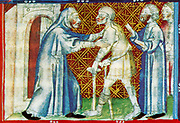 Scene from the 14th Century, illustrated manuscript the Breviari d'amor. It illustrates the seven Acts of Mercy. Here  is shown sheltering the homeless