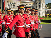 23 JULY 2015 - BANGKOK, THAILAND:  A Thai military marching band walks to the front of Government House before the arrival ceremony for the Vietnamese Prime Minister Thursday. The Vietnamese Prime Minister and his wife came to Bangkok for the 3rd Thailand - Vietnam Joint Cabinet Retreat. The Thai and Vietnamese Prime Minister discussed issues of mutual interest.     PHOTO BY JACK KURTZ