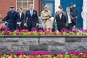 Koning Willem Alexander en koningin Maxima in de Garden of Remembrance voor de kranslegging tijdens de eerste dag van het staatsbezoek aan Ierland. <br /> <br /> King Willem Alexander and Queen Maxima in the Garden of Remembrance for the wreath laying during the first day of the state visit to Ireland.