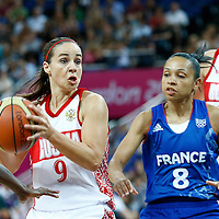 09 August 2012: Russia Becky Hammon looks to pass the ball during 81-64 Team France victory over Team Russia, during the women's basketball semi-finals, at the 02 Arena, in London, Great Britain.