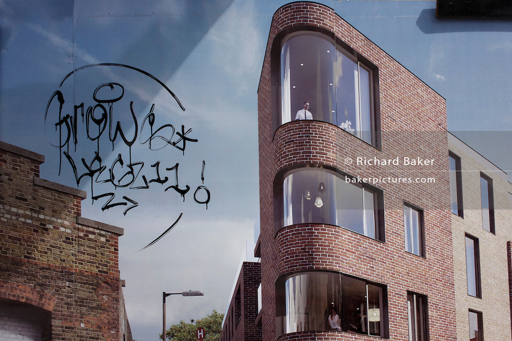 Aspirational illustration of future housing development where gentrification is happening in Camberwell, south London.