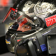 Driver Dale Earnhardt Jr. is seen in his race car during the 56th Annual NASCAR Daytona 500 practice session at Daytona International Speedway on Wednesday, February 19, 2014 in Daytona Beach, Florida.  (AP Photo/Alex Menendez)