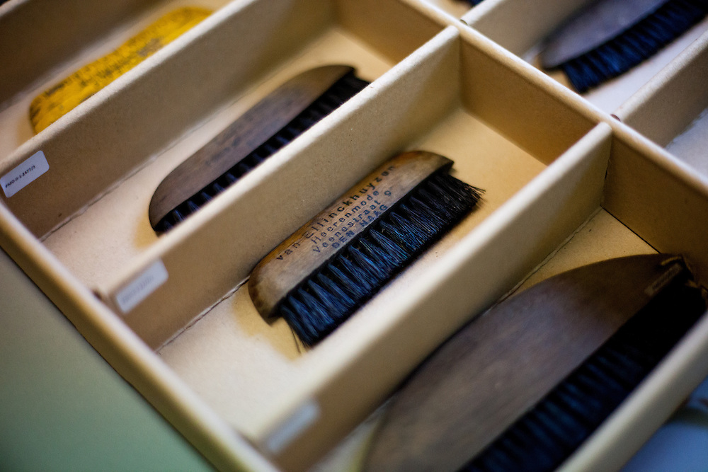 A box with brushes at the storage room and archive for items which had been taken from unknown prisoners deported to the Auschwitz Nazi Concentration camp. All objects are registered and catalogued.
