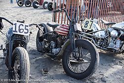 Ryan Macky's 1942 Harley-Davidson (#165) WLA Flathead alongside Chuckie Goerlitz's (#75) 1938 Harley-Davidson UL at the Race of Gentlemen. Wildwood, NJ, USA. October 10, 2015.  Photography ©2015 Michael Lichter.