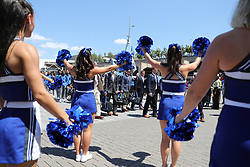 Duke Blue Devils team walk prior to the Chick-fil-A Kickoff Game at the Mercedes-Benz Stadium, Saturday, August 31, 2019, in Atlanta. Alabama won 42-3. (Brad Budd via Abell Images for Chick-fil-A Kickoff)