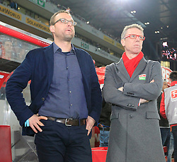07.03.2014, Rhein- Energie Stadion, Koeln, GER, 2. FBL, 1. FC Koeln vs FC Energie Cottbus, 24. Runde, im Bild Joerg Jakobs (Leiter Kaderplanung u Transfermanagement 1 FC Koeln), Trainer Peter Stoeger (1 FC Koeln) // during the 2nd German Bundesliga 24 th round match between 1. FC Cologne and FC Energie Cottbus at the Rhein- Energie Stadion in Koeln, Germany on 2014/03/08. EXPA Pictures © 2014, PhotoCredit: EXPA/ Eibner-Pressefoto/ Schueler<br /> <br /> *****ATTENTION - OUT of GER*****