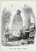 The Poor Man's Friend': Cartoon by John Leech from 'Punch', London, February 1845, showing Death as the friend of the old or sick unemployed manual labourer, a more welcome option than the Union (Workhouse) that can be seen through the window.