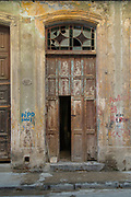 Destroyed old, traditional house with doors, Havana, Cuba