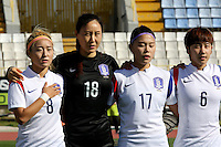 Fifa Womans World Cup Canada 2015 - Preview //<br /> Cyprus Cup 2015 Tournament ( Gsz Stadium Larnaca  - Cyprus ) - <br /> Canada vs South Korea 1-0  // Team Group of South Korea , from the left up :<br /> CHO Sohyun ,KIM Jungmi ,SHIN Damyeong and LIM Seonjoo