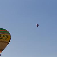 balloons fly on the sky during the Velence Lake International Hot Air Balloon Festival in Agard, Slovakia on September 10, 2011. ATTILA VOLGYI