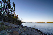 Sunset descends over the area of Three Mile Campground, Isle Royale National Park, Lake Superior,  Michigan, USA.