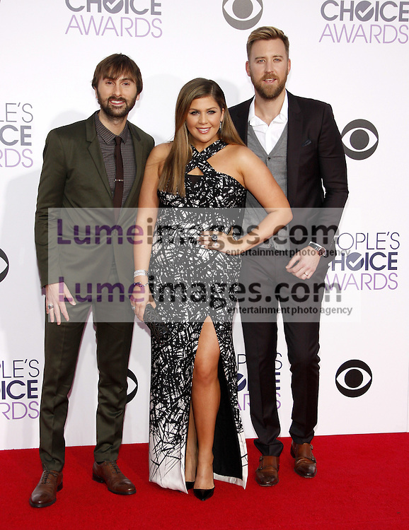 Hillary Scott, Dave Haywood and Charles Kelley of Lady Antebellum at the 41st Annual People's Choice Awards held at the Nokia L.A. Live Theatre in Los Angeles on January 7, 2015. Credit: Lumeimages.com