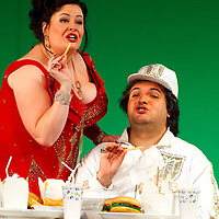 Picture shows :  Tiziano Bracci as Mustafa  and Karen Cargill as Isabella ..Picture  ©  Drew Farrell Tel : 07721 -735041..A new Scottish Opera production of  Rossini's 'The Italian Girl in Algiers' opens at The Theatre Royal Glasgow on Wednesday 21st October 2009..(Soap) opera as you've never seen it before.Tonight on Algiers.....Colin McColl's cheeky take on Rossini's comic opera is a riot of bunny girls, beach balls, and small screen heroes with big screen egos. Set in a TV studio during the filming of popular Latino soap, Algiers, the show pits Rossini's typically playful and lyrical music against the shoreline shenanigans of cast and crew. You'd think the scandal would be confined to the outrageous storylines, but there's as much action off set as there is on.... .Italian bass Tiziano Bracci makes his UK debut in the role of Mustafa. Scottish mezzo-soprano Karen Cargill, who the Guardian called a 'bright star' for her performance as Rosina in Scottish Opera's 2007 production of The Barber of Seville, sings Isabella. .Cast .Mustafa...Tiziano Bracci.Isabella..Karen Cargill.Lindoro...Thomas Walker.Elvira...Mary O'Sullivan.Zulma...Julia Riley.Haly...Paul Carey Jones.Taddeo...Adrian Powter. .Conductors.Wyn Davies.Derek Clarke (Nov 14). .Director by Colin McColl.Set and Lighting Designer by Tony Rabbit.Costume Designer by Nic Smillie..New co-production with New Zealand Opera.Production supported by.The Scottish Opera Syndicate.Sung in Italian with English supertitles..Performances.Theatre Royal, Glasgow - October 21, 25,29,31..Eden Court, Inverness - November 7. .His Majesty's Theatre, Aberdeen  - November 14..Festival Theatre,Edinburgh - November 21, 25, 27 ...Note to Editors:  This image is free to be used editorially in the promotion of Scottish Opera. Without prejudice ALL other licences without prior consent will be deemed a breach of copyright under the 1988. Copyright Design and Patents Act  and will be subject to payment or legal action, where appropriate..Fur