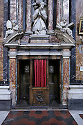 ornate confessional in a church in Italy Rome