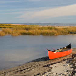 Canoe on Griswold Point in Old Lyme, Connecticut.  Mouth of the Connecticut River at Long Island Sound.