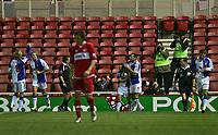 Photo: Andrew Unwin.<br /> Middlesbrough v Blackburn Rovers. Carling Cup. 21/12/2005.<br /> Blackburn's Paul Dickov (C) celebrates his goal with Shefki Kuqi (#9).