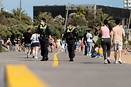 Police are seen patrolling St Kilda Beach during COVID-19 in Melbourne, Australia. Premier Daniel Andrews comes down hard on Victorians breaching COVID 19 restrictions, threatening to close beaches if locals continue to flout the rules. This comes as Victoria sees single digit new cases. (Photo by Dave Hewison/Speed Media)