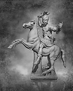 Roman marble sculpture of a warrior on horseback, a 2nd century AD copy from an original 2nd century BC Hellanistic Greek original, inv 6405, Naples Museum of Archaeology, Italy  Black and White Wall art print by Photographer Paul E Williams