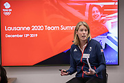 Georgina Harland, BOA British Olympic Association Chef De Mission for the Lausanne 2020 Youth Olympic Games, during the Team GB Summit at the BOA on the 13th December 2019 in London in the United Kingdom. Georgina Harland, is a former British bronze medalist modern pentathlete.