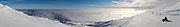 Panoramic view from the top of ski field Turoa. Turoa is located on active volcano Mount Ruapehu, New Zealand. The image is stitched from 29 individual exposures.