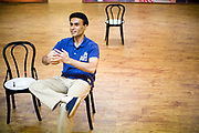 Actor Arif Zakaria in rehearsal for The Merchants of Bollywood in a studio in Mumbai, India<br /> <br /> The Merchants of Bollywood, An Indian theatrical dance musical, charts the history of the world's largest and most prolific film industry, and is loosely based on the showbusiness, Merchant family. Seen by over two million people worldwide, the show is homage to the world of Indian cinema.