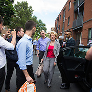 Andrea Leadsom visits the neighborhood, representing the House of Commons, not he Conservatives.Grenfell Tower burned out after a catastophic fire killing more than 30 people June 16th 2017. The tower caught fire early Wednesday morning and final casualty figueres may end up to be many more with police not expecting to be able to find recover all bodies and to find all missing people. Shoddy building work and cheap cladding is so far blamed for the ferocious fire.