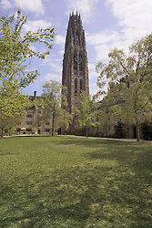 On the Yale University Campus, Harkness Tower and the Branford College Quad in April