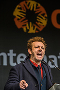 """Michael Sheen performs the """"Kier Hardie"""" Speech - #March4Women 2018, a march and rally in London to celebrate International Women's Day and 100 years since the first women in the UK gained the right to vote.  Organised by Care International the march stated at Old Palace Yard and ended in a rally in Trafalgar Square."""