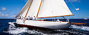 Juno sailing in the Windward Race at the Antigua Classic Yacht Regatta.