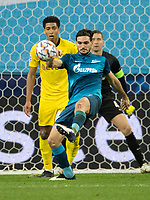 SAINT PETERSBURG, RUSSIA - DECEMBER 08: Magomed Ozdoev of Zenit St. Petersburg clears the ball during during the UEFA Champions League Group F stage match between Zenit St. Petersburg and Borussia Dortmund at Gazprom Arena on December 8, 2020 in Saint Petersburg, Russia. (Photo by MB Media)