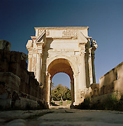 Arch of Septimus at the ruined Roman city Leptis Magna, Libya
