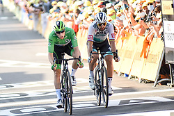 Sam BENNETT (IRL) in the points classification green jersey and Peter SAGAN (SVK) pictured rushing for the line at the end of stage 19 of Tour de France cycling race, over 166,5 kilometers (103.4 miles) with start in Bourg-en-Bresse and finish in Champagnole, France,Friday, September 18, 2020.//JEEPVIDON_1615004/2009191625/Credit:jeep.vidon/SIPA/2009191625 / Sportida
