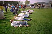 Pentagon: Symbolic death School of Americas protest 4/28/97.  Washington DC USA
