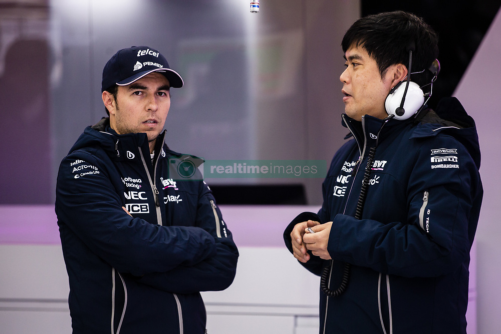 February 18, 2019 - Barcelona, Barcelona, Spain - Sergio Perez from Mexico with 11 SportPesa Racing Point F1 Team portrait talking with his engineer during the Formula 1 2019 Pre-Season Tests at Circuit de Barcelona - Catalunya in Montmelo, Spain on February 18, 2019. (Credit Image: © Xavier Bonilla/NurPhoto via ZUMA Press)