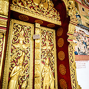 Ornate deocrations at Wat Phonxay Sanasongkham in Luang Prabang, Laos.