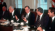 .President HW Bush meets with congressional leadership in May 1990....Photograph by Dennis Brack  bsb12