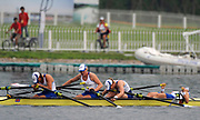 Shunyi, CHINA.  GBR W4X, Bow, Annie VERNON, Debbie FLOOD, Frances HOUGHTON and katherine GRAINGER,  dissapointed and exhausted after winning the Silver  medal at the 2008 Olympic Regatta, Shunyi Rowing Course.  Sun 17.08.2008.  [Mandatory Credit: Peter SPURRIER, Intersport Images