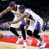 16 January 2016: Sacramento Kings center DeMarcus Cousins (15) and Sacramento Kings guard Rajon Rondo (9) reach for the ball during the Sacramento Kings 110-103 victory over the Los Angeles Clippers, at the Staples Center, Los Angeles, California, USA.