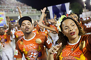 Salgueiro Samba School doing the final practice performance of their Carnival procession in the Sambadrome, Rio de Janeiro, Brazil