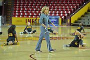 March 17, 2016: Arizona State Sun Devils head coach Charli Turner-Thorne prepares for drills during the first practice day of the 2016 NCAA Division I Women's Basketball Championship first round in Tempe, Ariz.