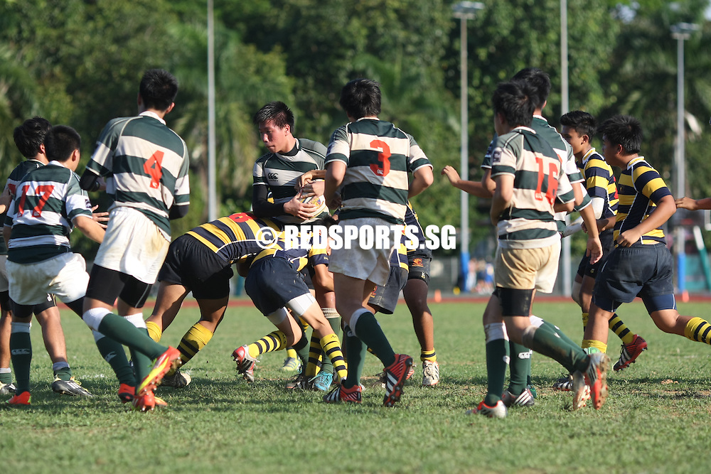 PESEB, Evans Road, Thursday, August 15, 2013 – Anglo-Chinese School (Independent) beat St. Joseph's Institution 39–6 to qualify for the final of the 2013 National C Division Rugby Championship.<br /> <br /> Story: http://www.redsports.sg/2013/08/15/c-div-rugby-acsi-sji-2/