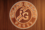 Roland Garros logotype cuts out of the wood en lightened illustration during the Roland Garros 2020, Grand Slam tennis tournament, on October 5, 2020 at Roland Garros stadium in Paris, France - Photo Stephane Allaman / ProSportsImages / DPPI