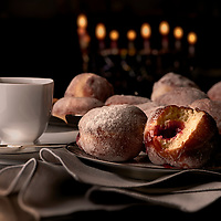 Sufganiot.  Jelly filled donuts served during Chanukah.