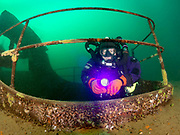 KISS Spirit rebreather diver on the stern of Silver Comet at Dutch Springs, Scuba Diving Resort in Pennsylvania