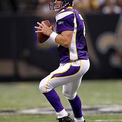 September 9, 2010; New Orleans, LA, USA;  Minnesota Vikings quarterback Brett Favre (4) looks to pass during the NFL Kickoff season opener at the Louisiana Superdome. The New Orleans Saints defeated the Minnesota Vikings 14-9.  Mandatory Credit: Derick E. Hingle