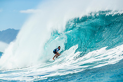 December 16, 2018 - Pupukea, Hawaii, U.S. - Joan Duru (FRA) advances to Round 3 of the 2018 Billabong Pipe Masters after winning a close Heat 12 of Round 2. (Credit Image: © Kelly Cestari/WSL via ZUMA Wire)