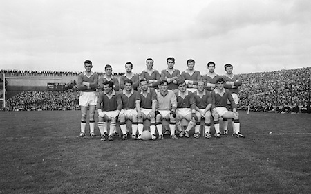 Group photograph of the Senior Meath team at the All Ireland Senior Gaelic Football Final Cork v. Meath in Croke Park on the 24th September 1967. Meath 1-9 Cork 0-9.<br /> Back row (from left) Brian Cunningham, Padraig Mulvany, N Curran, Peadar Moore, John Quinn, M Kerrigan, O Shanley, Padraig Reynolds.<br /> Front row (from left) T Brennan, T Kearns, P Darby (capt), Sean McCormack, M White, P Coliier, Micheal Mellet.