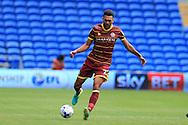 Steven Caulker of Queens Park Rangers in action. EFL Skybet championship match, Cardiff city v Queens Park Rangers at the Cardiff city stadium in Cardiff, South Wales on Sunday 14th August 2016.<br /> pic by Andrew Orchard, Andrew Orchard sports photography.