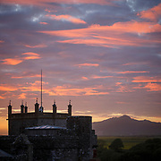 Sunset over the cathedral in St Davids, Pembrokeshire, Wales