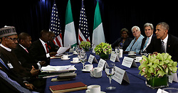 US President Barack Obama (R) speaks at a bilateral meeting with the The President of the Federal Republic of Nigeria Muhammadu Buhari (left wearing hat) during the United Nations 71st session of the General Debate at the United Nations General Assembly at United Nations headquarters in New York City, NY, USA, September 20, 2016. Photo by Peter Foley/Pool/ABACAPRESS.COM